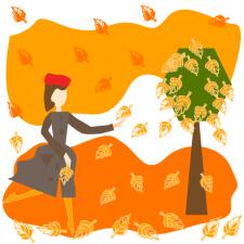 осенний вальс девушка танцует с листьями