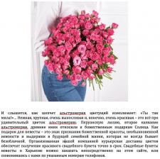 Наполнение сайта по продаже цветов