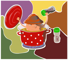 Персонаж: самоварящийся гриб, векторная графика