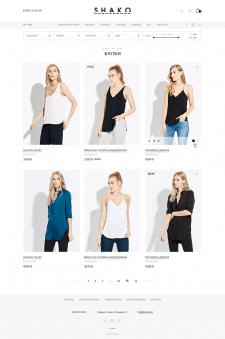 Верстка магазина бренда женской одежды SHAKO