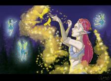 Цифровой арт с детализированным фоном
