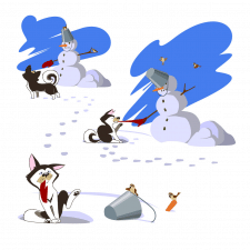 Щенок и снеговик. Скетч Вектор