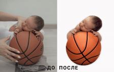 Коллаж Малыш на баскетбольном мяче