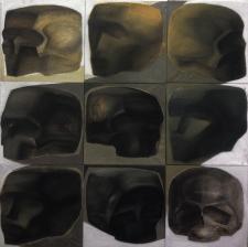surrealistic heads and skulls