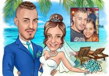 Свадебный шарж с прорисовкой фона