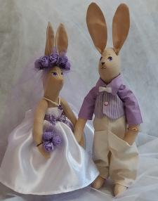 Игрушка текстильная, свадебные зайчики
