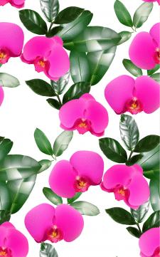 Орхидеи бесшовная тестура векторная авторская