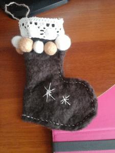 мокрое валяние / рождественский носок для конфет