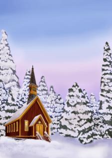 Зимний вечерний пейзаж