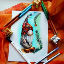 Рождественский гном с шапкой- домиком