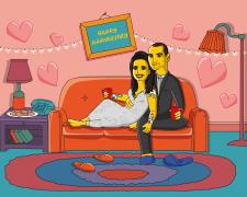 Пара в стиле Симпсонов