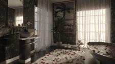 White and Dark Bathroom