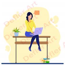 Flat illustration-woman student/плоский стиль