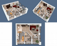 3D visualization of a three-room apartment NEW
