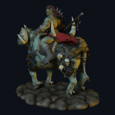 Orc Rider and Bull Creature