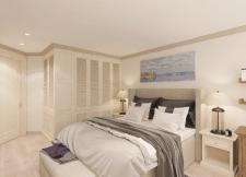 Визуализация спальни в пастельных тонах