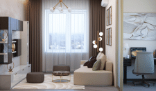 Дизайн интерьера гостиной 2-х комнатной квартиры