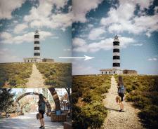 Коллаж с маяком и девушкой