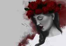 Девушка с венком из роз