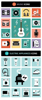 Music Electric Appliances Icons Set