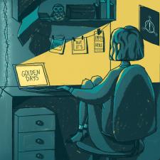 Иллюстрация персонажа в интерьере