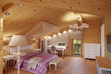 Уютная спальня в доме из бруса
