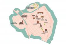 Карта Гамла Стан района Стокгольма для брошюры