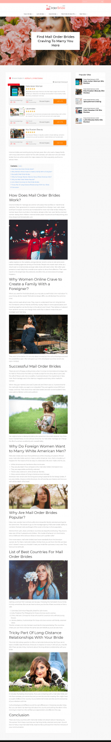 Find Mail Order Brides Craving To Marry You Here