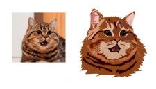 векторный портрет домашних животных, кот, собака