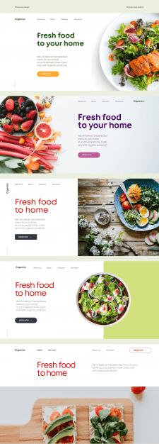 Дизайн первого экрана для компании по доставке еды