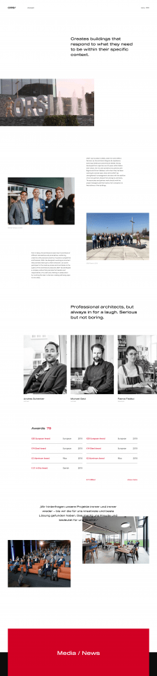 About page for ORSI° Architects