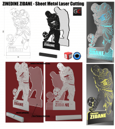 Zinedine Zidane - Sheet Metal Artwork