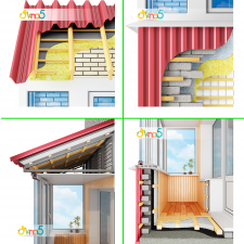 Иллюстрация крыши и утепления балкона в разрезе