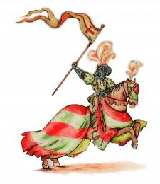 Рыцарь, акварельные карандаши