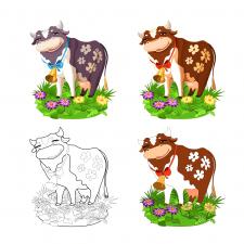 Иллюстрация Корова Вектор