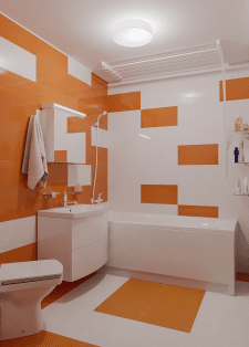 Orange white bathroom