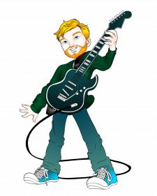 Мультяшный портрет гитариста.