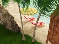 Тропический пляж с шезлонгами, зонтиком и бунгало
