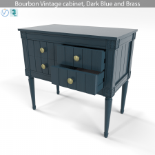 Bourbon Vintage cabinet, Dark Blue and Brass