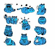 """Стикеры """"Тигр"""""""