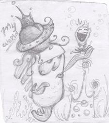 мультяшный персонаж / набросок карандаш