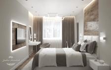 Дизайн спальни для молодой пары в светлых тонах.