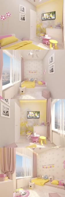 Дизайн детской комнаты, для девочки.