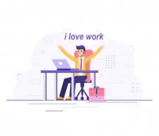 Иллюстрация офисного работника, для инстаграм