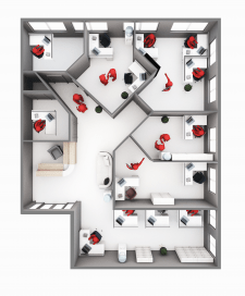 Планировка офиса вид сверху