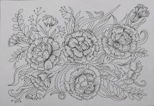 """Ескіз """"Квіткові мотиви. Гвоздики"""""""