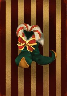 Новогодняя иллюстрация Эльфийские сапожки