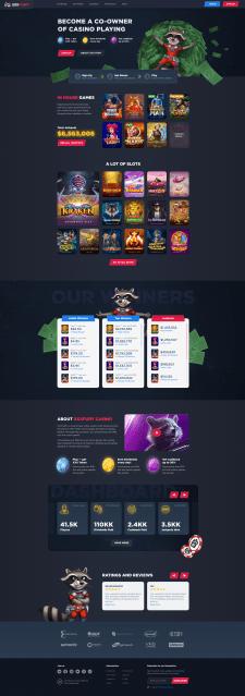 Дизайн главной страницы гемблинговой платформы