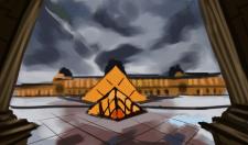 Набросок Лувра на фоне пасмурного неба