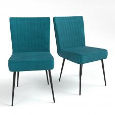 Chaise retro style 50 s blue prussia